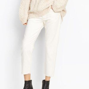 VINCE Union Slouch Off White Crop Raw Hem Jeans